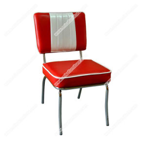 Wholesale Red Stripe Vinyl Retro 1950s Diner Chair, Metal With Chrome Frame  American Style Midcentury