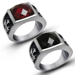 Gemstone Stainless Jewelry Gothic Men′s Rings Cross Pattern