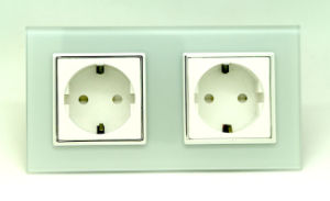 EU 16A Crystal Glass Double Electric Power Wall Socket