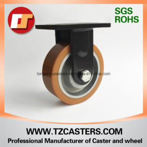 Spray-Paint Black Fixed Caster with PU Wheel Cast Iron Center pictures & photos