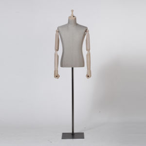 Linen Wrapped Half Body Male Mannequin for Window Display pictures & photos