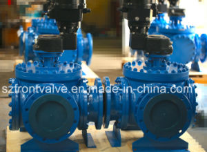 Three Way L Port Cast Steel Flanged Ball Valve pictures & photos