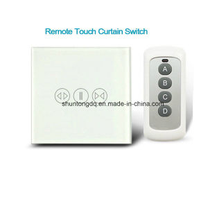 Elegant Smart House Luxury Glass Panel EU Standard Remote Control Smart Electric  Touch Curtain Wall Switch 1000W + LED Indicator