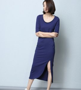 OEM 2015 Plus Size Plain Cotton Split Women Dress pictures & photos