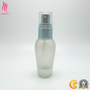 Shaped Cosmetic Glass Frosted Container with Colored Sprayer pictures & photos