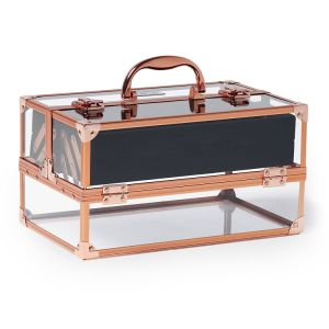 Professional Large Lockable Acrylic Makeup Box, Cosmetic Case with Rose Gold Frame pictures & photos