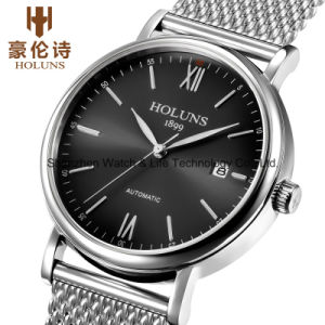 Automatic Stainelss Steel Sapphire Mesh Band Men′s Wrist Watch pictures & photos