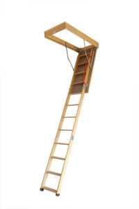 Deluxe Wooden Folding Loft Ladder pictures & photos