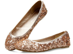 High-Shine Lady Flat Shoes with Pailette and Scales