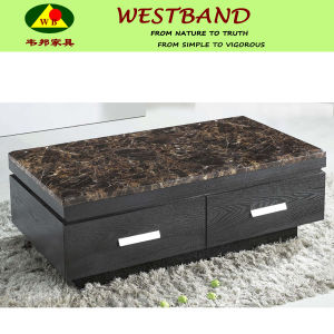 China Black Wood And Marble Top Storage Coffee Tables China