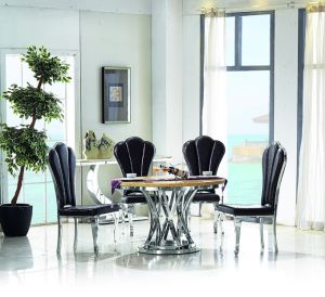 6 Person Marble or Tempered Glass or Wood Top Stainless Steel Base Round Dining Table