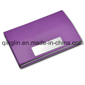 Custom Multicolor Leather and Aluminium Business Card Case (QL-MPH-0011-1)