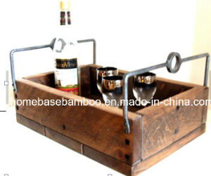 Rustic Metal Iron Wood Wine Storage Bin with Handles 9003 pictures & photos