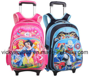 Rolling Wheeled Double Shoulder Students Pupils School Backpack Bag (CY3415) pictures & photos