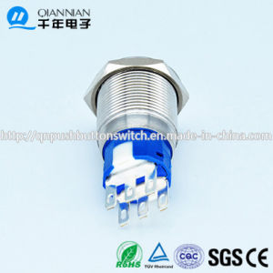 Qn19-C6 Momentary|Latching 19mm Flat Head 2no 2nc Gold Finish Momentary Switch pictures & photos