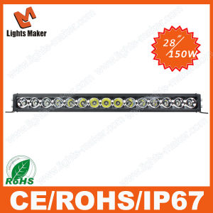 4D Singel Row LED Light 28 Inch 150W Spot Beam Offroad LED Car Light SUV Monster Truck Forklift LED Light Bar