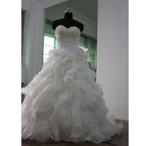 Elegant Strapless Organze Bridal Gown Wedding Dress pictures & photos