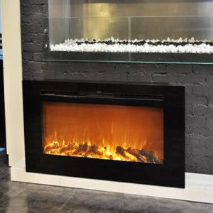 Wall Recessed Decor Flame Electric Fireplace With Fake Fire