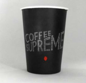 Black Color Single Wall Paper Coffee Cup Customized Logo
