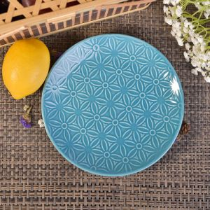 Dia 19cm Blue Glazed Round Ceramic Plates Saucers with Flower Design pictures & photos
