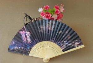Head Blue Floral Bone Paper Fan