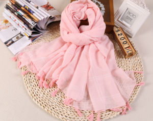 Cotton Polyester Shawls Plain Color Long Tassel Scarf for Wholesale
