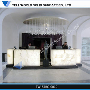 High Quality Simple Design Artificial White Reception Desk/Bar Counter with LED Light pictures & photos