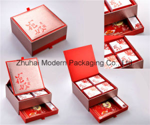 2layer High Quality Rigid Cardboard Red Color Mooncake Packaging Box pictures & photos
