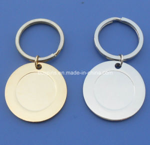 Blank Round Gold and Silver Key Chain