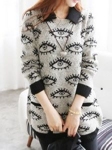 The Eye Pattern Long Sweater (BTQ060) pictures & photos