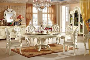 Solid White French Round Wood Dining Table and Chair (TH-568)