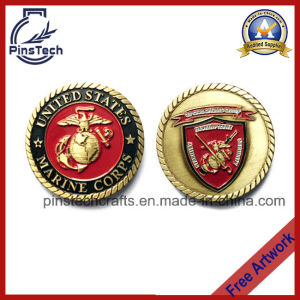 3D Us Marine Military Coin, with Rope Edging