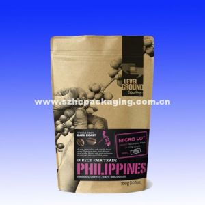 stand up kraft paper coffee bag with valve and zipper