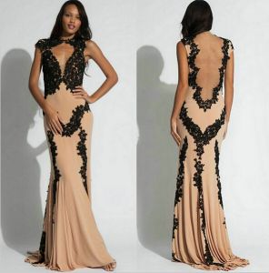 Black Lace Chiffon Evening Dresses Mermaid Elegant Prom Gown E2015
