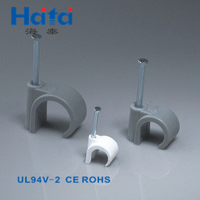 Haitai Good Price High Quality Reusable PE Plastic Material Nail Hook Type Cable Clip pictures & photos