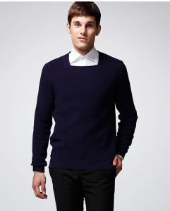 Pure Colour Long Sleeve Horseshoe Collar Pullover Man Sweater pictures & photos