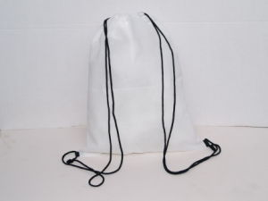 White Nylon Drawstring Bag Drawstring Backpack