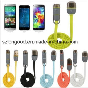 Flat 2in1 Micro USB Sync Data Charging Cable for Samsung Apple iPhone