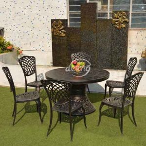 European Style Outdoor Dining Furniture Cast Aluminum Table And Chairs