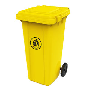 120L Plastic Trash Bin Rubber Wheel Dustbins for Outdoor pictures & photos