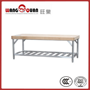 Hotel Used Built-in Wooden Overshelf / Top Board Stainless Steel Table pictures & photos