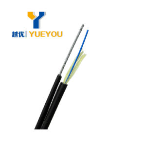 FTTH 1/2 Fibers Messenger Steelwire Aramid Yarn Optical Fibre Cable