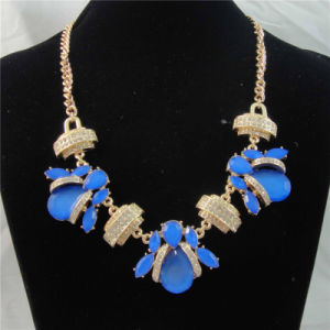New Item Blue Acrylic Glass Stones Fashion Necklace
