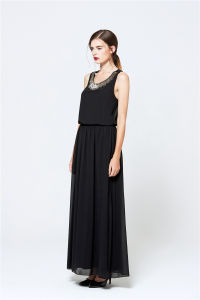 2017 Sexy Ladies Black Halter Long Maxi Dress Latest Designer One Piece Dress pictures & photos