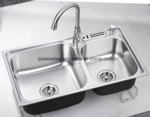 Stainless Steel Handmade Kitchen Sink with Soap Container (QW-H7643D)