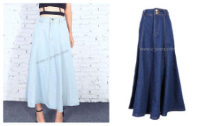 Factory Wholesale High Quality Women′s Classy Long Jean Skirt