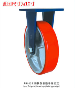 Heavy Duty Fixed Caster with Red PU Wheel Cast Iron Core