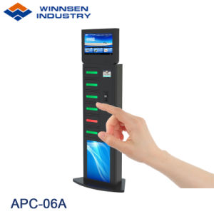 Restaurant Floor Standing Cell Phone Charging Kiosk Station with 6 Lock Box