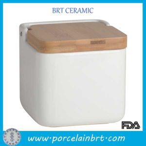Pet Product Ceramic Dog Food Storage Container With Wooden Lid