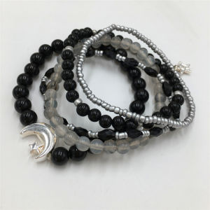 Classy Beads Bracelet with Alloy Moon Pattern Star Bracelet Jewelry